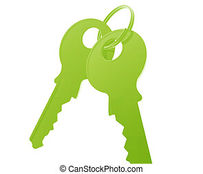 Keys on keyring illustration glossy metal style isolated