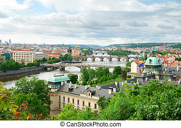 Prague and its multiple bridges across Vltava river, Czech...