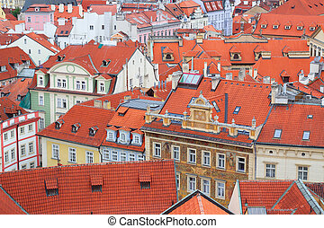 Rooftops view from the Town Hall tower in Prague, Czech Republic