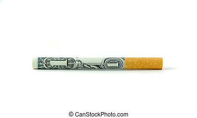 A single cigarette made from a dollar bill