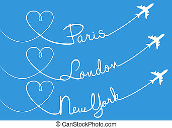 Love flying, Paris, London, NewYork - Heart shaped airplane...