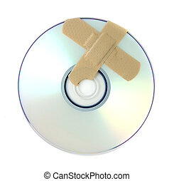 A broken DVD is repaired with Band-aids.
