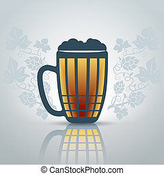 Pint of beer - Stylized pint of beer with decorative...