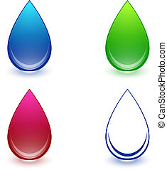 Water Drop Set - Multicolored Water Drop Collection Over...