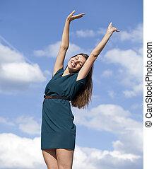 Young woman enjoying life - Portrait of young woman enjoying...