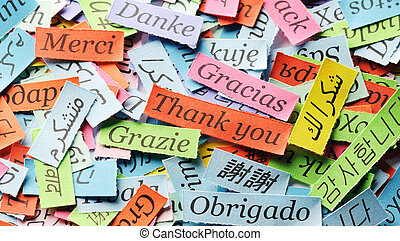 Thank You Word Cloud printed on colorful paper different...