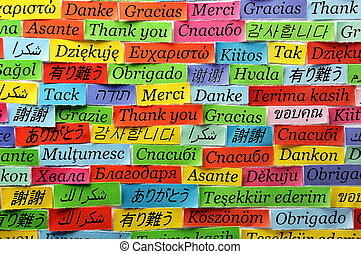 Thank You Word Cloud printed on colorful  paper