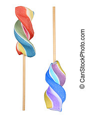 Lollipops - Colorful spiral lollipops isolated on white...