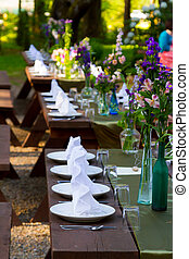 Wedding Place Settings - Place settings ready for guests at...