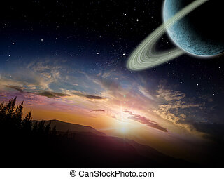 Alien planet at sunrise or sunset with a ringed moon in orbit. Sci-fi Fantasy artwork.