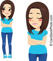 Sad teenager Girl - Sad teenager girl with crossed arms and...