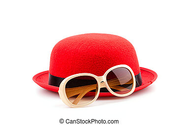 rojo, sombrero, gafas de sol, aislado, blanco, Plano de...