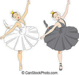 Black & White Ballerina - Line illustration of a beautiful...