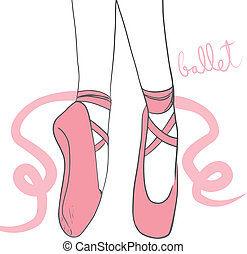 Pink Ballerina Shoes - Detail illustration of pink ballerina...