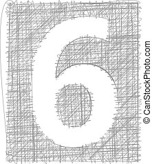 Freehand Typography Number 6