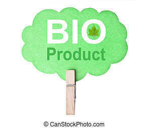 Eco friendly label Bio product, isolated on white...