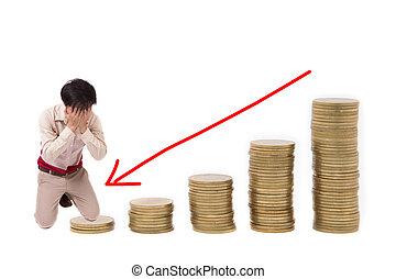 金, 背景, グラフ, コイン, 落ちる, 矢, 白, 赤