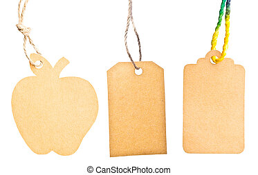 Set Blank tag tied with brown string isolated against a white background, clipping path