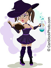 Beautiful witch cooks a potion Illustration in vector format...
