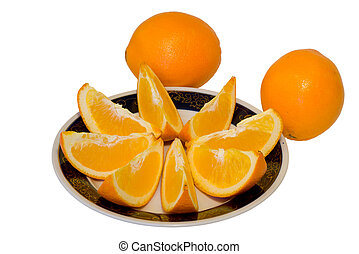 Oranges 1 - A close-up of the slices of orange on plate,