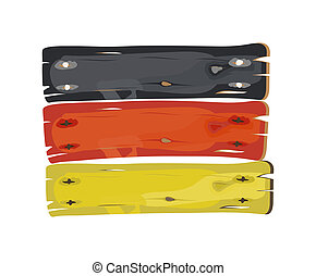 German flag painted on wooden plank