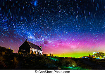 Star trails and Aurora light at Church of the Good Shepherd,...