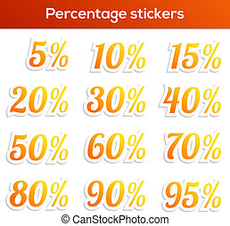 Percentage sticker set - Isolated set of 14 percentage...