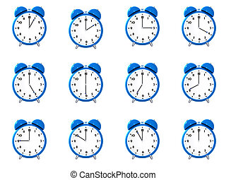 Twelve blue alarm clocks showing different time isolated on...