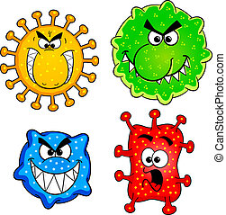 wild viruses - vector illustration of some wild cartoon...
