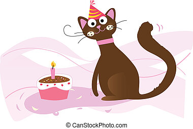 Happy birthday, cat! - Vector illustration. See more of my...