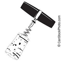 Corkscrew and Cork Drawing - A corkscrew with an extracted...