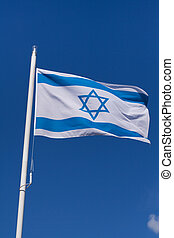Flag of Israel - Waving flag of Israel against the clear...