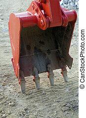 red dozer - constuction red dozer bucket detail