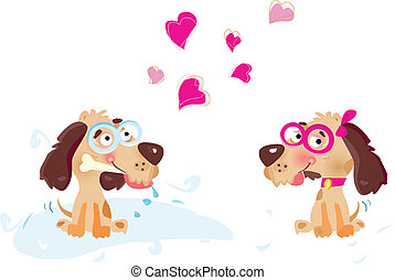 In love - Dogs in love. Vector illustration. See more...