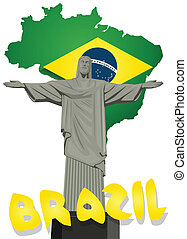 Brazil vector with Christ the redeemer statue
