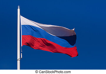 Flag of Russia - Waving flag of Russian Federation against...