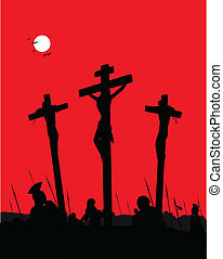 Jesus Christ - Crucifixion.  - Vector Illustration.