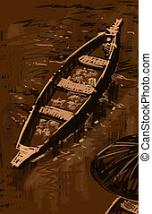 floating market boat illustration brown
