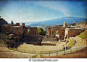Taormina - Ruins of the Greek Roman Theater, Taormina,...
