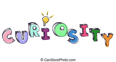 Sketchy colorful word Curiosity with light bulb