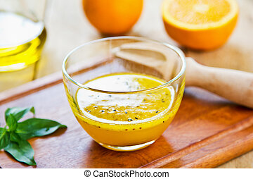 Orange with Black sesame vinaigrette - Homemade Orange with...