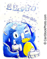 snow flake penguin illustration - snow flake penguin cute...