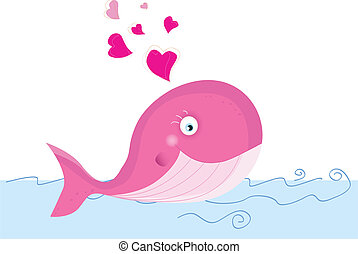 Whale in love - Swimming animal in ocean. Art Vector...