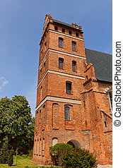 Belfry of St Stanislaus church 1521 in Swiecie town, Poland...