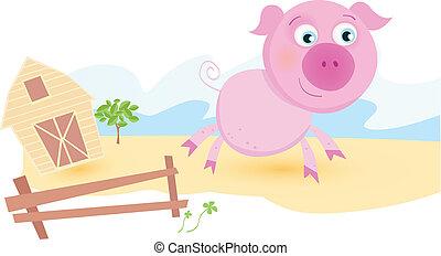 Pig on farm - Funny animal Vector cartoon Illustration