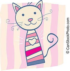 Pink kitten - Stripped small cute baby kitten Vector...
