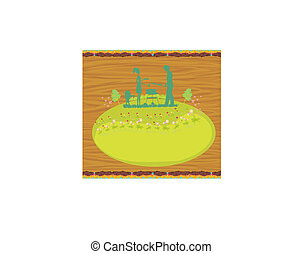 Happy family with barbecue - abstract card