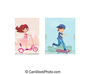 happy boy on a skateboard and girl on scooter