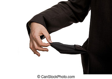 poor - man holding his empty pocket, isolated on white