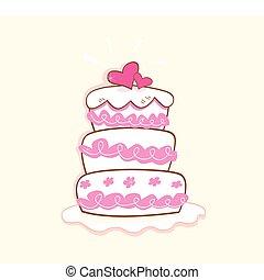 Wedding cake - Pink decorative sweet cake. May be used on...
